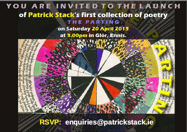 Invitation to launch of Patrick Stack's first collection entitled 'The Parting'